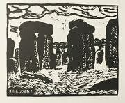 Horace Brodzky Signed Etching Stonehenge 1919 Print 1986