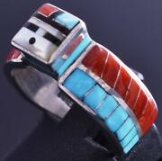 Size 7-1/2 Silver And Turquoise Multistone Zuni Inlay Sunface Ring Don Dewa 8j26j