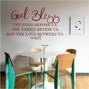 New God Bless The Food Family Our Love Vinyl Wall Art - Dining Room Home Decor