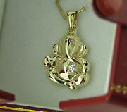 14k Gold Lord Ganesh Diamond Pendant With Free 14k Solid Yellow Gold Chain