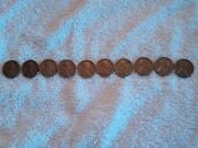 Complete Set Of 1950's Pennies.1950-1959 Wheat And 1st Lincoln Memorial.10 Penny
