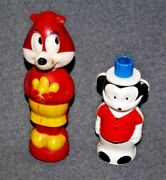 Soaky Terrytoons Muskie And Disney Mickey Mouse Bubble Bath Toy Bottles Mid 1960's