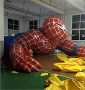Cartoon Giant Inflatable Spiderman For Outdoor Advertising 8m Inflatable Cart Ls
