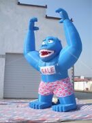 Inflatable 20ft Blue Gorilla Advertising Promotion With Blower New Qc