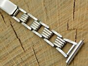 Pontiac Mens Vintage Ratchet Deployment Watch Band 16mm Stainless Pre-owned
