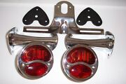 1928-31 Model A Lights With Stop Script Brackets And License Bracket.