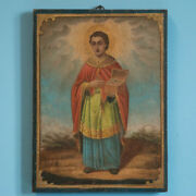 Antique Religious Icon Painting Of St. Martin On Board
