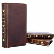 Genuine Leather Case For Apple Iphone Xs Wallet Handmade Cover Bible Book Soft