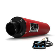 Hmf Performance Slip On Exhaust Red Black End Cap + Optimizer Yamaha Grizzly 700