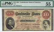 T-24 Pf-1 10 1861 Confederate Paper Money - Pmg About Uncirculated 55