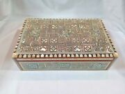 Egyptian Mother Of Pearl Paua Geometric Wooden Inlaid Jewelry Box 10 X6.5 558
