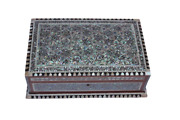 Egyptian Mother Of Pearl Paua Base Wooden Inlaid Jewelry Box 10.8 X 7 116 Wow