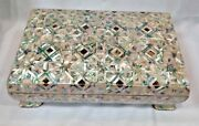 Egyptian Mother Of Pearl Paua Unique Wooden Inlaid Jewelry Box 10.4 X6.5 941