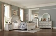 4 Pc French Provincial Style Antique White King Ns Dresser Bed Bedroom Set