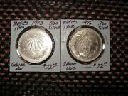 Mexico 1943 And 1945 1 Peso .720 Silver Nice Frosty Choice Uncirculated 2 Coins