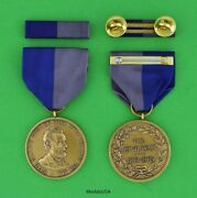 Army Civil War Campaign Medal And Mounted Ribbon Bar - Ring Top - Made In Usa