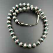 Handcrafted Sterling Silver, Silver Barber Dimes Turquoise Beaded Necklace 27.5