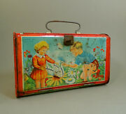 1952 Old Romanian Amt Litho Tin Lunch Box Bag Case W/ Girl And Boy Child Lunch Box