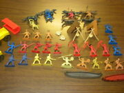 Huge Vintage Cowboy And Indian Playset Lot Covered Wagons Teepees Canoes Horses