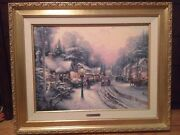 Village Christmas Thomas Kinkade Framed Canvas With Certificate Of Authenticity