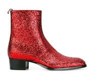Shiny Red Men Sequins Ankle Boot Pull On Western Casual Cowboy Club Chelsea Shoe