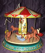 Unique Art Kiddy Go Round Carousel Wind Up Works C. 1950's