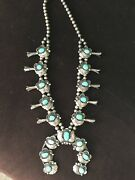 Sterling Silver And Turquoise Vintage Squash Blossom Necklace.andnbsp 1900.00