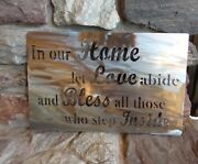 In Our Home Let Love Abide Plasma Cut Metal Wall Art Natural Steel Clear Finish