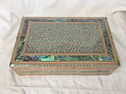 Egyptian Mother Of Pearl Paul Wooden Inlaid Velvet Jewelry Box 10.5 X 6.5 121