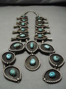 Largest Vintage Navajo Turquoise Sterling Silver Squash Blossom Necklace Old