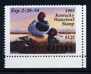 Ky9, 1993 Kentucky Duck Stamp, 5.25 Canvasback And Decoy