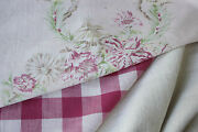 Antique Vintage French Fabrics Materials Project Bundle Pinks + Check + Linen