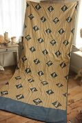 Vintage French Curtain Drape 1920s Toile Design Blue Gold