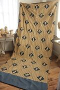 Vintage French Curtain Drape 1920s Toile Design Blue Gold Charming