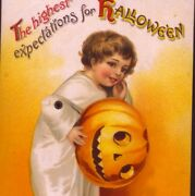 Scarce Mechanical Arm Moves,clapsaddle Halloween Ghost Child,vintage Postcard