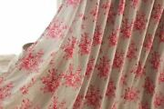 Antique French Bed Curtain Panel 1850 Floral Pink Gray Grey Cotton Passementerie