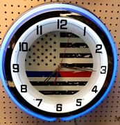 18 First Responders Thin Blue And Red Line Sign Double Neon Clock Police Fire