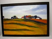 Signed Jan Dyer Original Oil On Canvas Painting Farm Scene On Rolling Hill 36