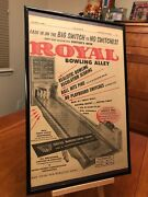 Big 11x17 Framed Royal Bowling Alley 1958 Arcade Game Promotional Ad Page