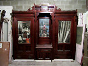 Antique Carved Walnut Closet Front Built In Armoire 112 X 101 Salvage