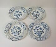 Set/4 19th C. Meissen Onion Pattern 8 Reticulated Plates, Crossed Swords