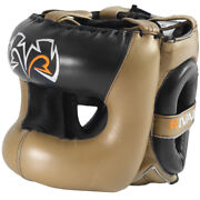 Rival Boxing Guerrero Facesaver Leather Sparring Headgear - Gold