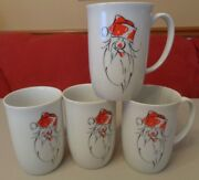 Fitz And Floyd 4 Christmas Santa Mugs / Cups Tipsy Claus Porcelain Ff White Red