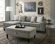 Compact Grey Chevron Dobby Storage Sectional Ottoman Living Room Furniture