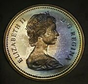 1971 1 Canada Silver Dollar Coin British Columbia Rainbow Toning Toned With Box