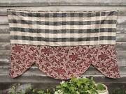 Valance Antique French Pelmet Bed Check Vichy Fabric 19th Century Textile