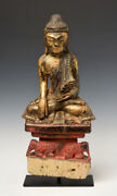 18th Century Shan Rare Antique Burmese Wooden Seated Buddha With Elephants