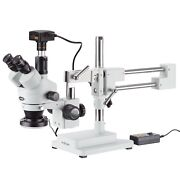 3.5x-180x Simul-focal Stereo Zoom Microscope + Dual Arm Boom Stand + Ring Light