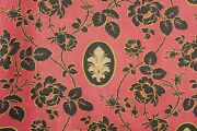 Antique French Printed Fabric Red And Black Floral Circa 1880 Arts And Crafts Design