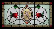 Beautiful Rare Painted Bird In Blossom Antique English Stained Glass Window